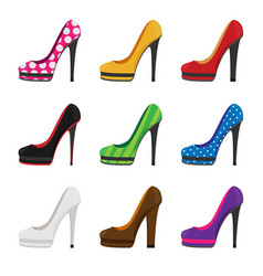 Flat heels shoes set vector