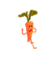 Frightened carrot cute vegetable character vector