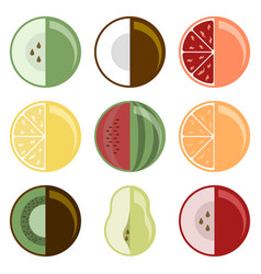 Fruit collection set of nine different species vector