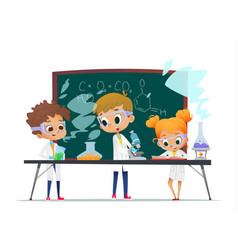 funny little girl doing and two boys experiments vector image