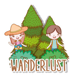 girl and boy with pine trees adventure vector image