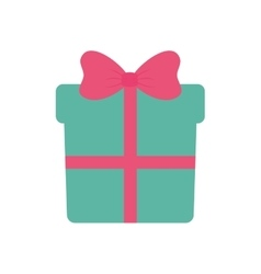 green gift box with pink ribbon vector image