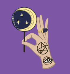 Halloween ritual magic hand with moon candy vector