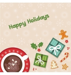 Happy holidays top view of Christmas celebration vector