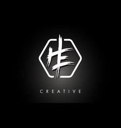 He h e brushed letter logo design with creative vector