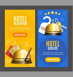 hotel reception service banner vertical set vector image