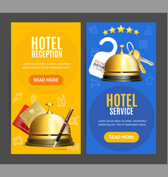 Hotel reception service banner vertical set with vector