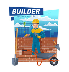 House building builder worker at brickwork vector