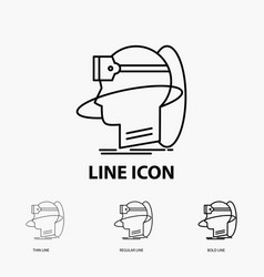 human man reality user virtual vr icon in thin vector image