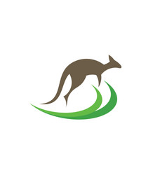 Kangaroo jumping logo design element vector