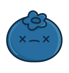 Kawaii dead blueberry cartoon vector