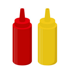 ketchup mustard sauce bottle cartoon flat style vector image