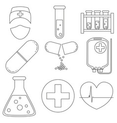 line art black and white medical 9 icon set vector image