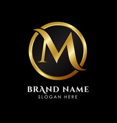 Luxury letter m logo template in gold color royal vector