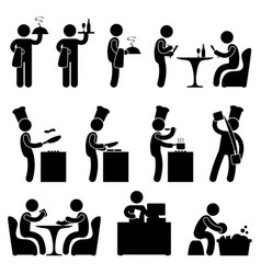 Man restaurant waiter chef customer icon symbol vector