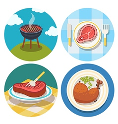 Meat icons in flat design vector