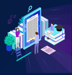 media book library concept 3d isometric view vector image