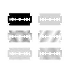metal razor blade set and silhouette isolated on vector image