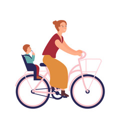 mother riding bike with baby in seat cute smiling vector image