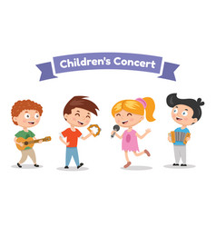 Musical children band on a white background vector