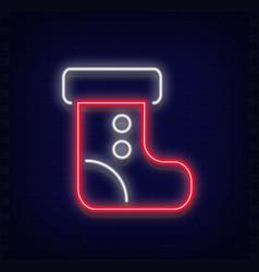 neon santa claus boot vector image