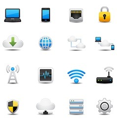 Network and cloud computing icons vector image
