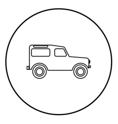 Off road vehicle icon black color in circle round vector