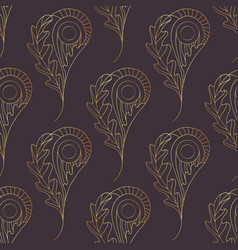 paisley seamless pattern gold abstract oak vector image