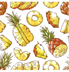 pineapple fresh sliced exotic food seamless vector image