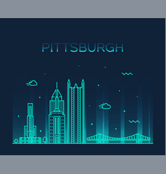 pittsburgh a skyline pennsylvania usa line vector image