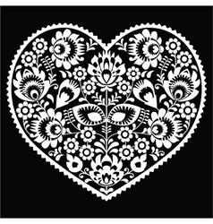 Polish white folk art heart pattern on black vector