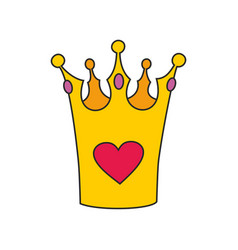 princess crown with heart isolated on white vector image