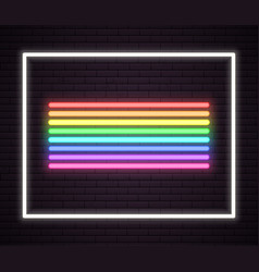 rainbow neon tube lights signboard sign on wall vector image