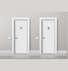 realistic wc toilet doors for male and female vector image