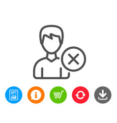 remove user line icon male profile sign vector image
