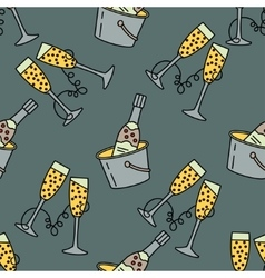 seamless pattern with champagne glass for vector image