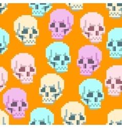 Seamless Pixel Skull Pattern vector image