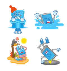 set cartoon smartphone vector image