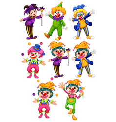 set funny clowns in different costumes vector image