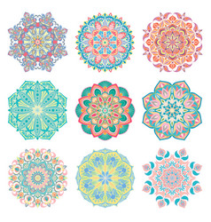set of 9 hand-drawn colorful arabic mandala vector image
