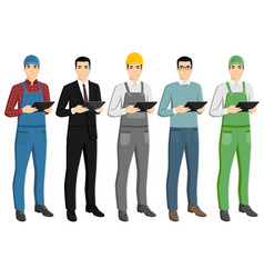 Set of asian men with a digital tablet vector