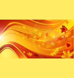 shining wavy background with falling leaves vector image