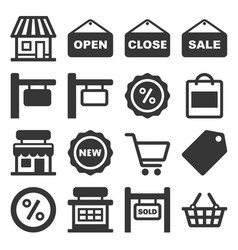 shop signboard and shopping icons set vector image