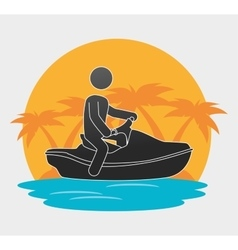 Silhouette man jet ski beach background vector