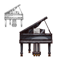 Sketch piano music instrument vector