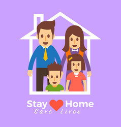 Stay home family 02 vector