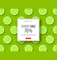 summer sale banner with sliced lime pieces and vector image
