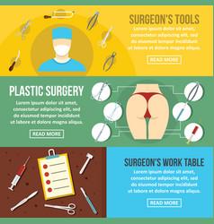 Surgeon tools banner horizontal set flat style vector