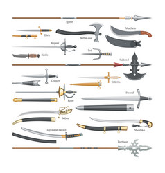 Sword medieval weapon knight with sharp vector