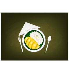 Thai Ripe Mango with Sticky Rice on Chalkboard vector image